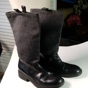 J. Crew made in Italy Leather Boots with Gray Wool